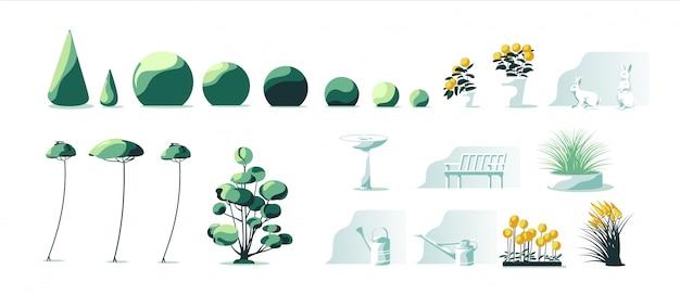 Gartenpflanzen setzen isolierten weißen hintergrund