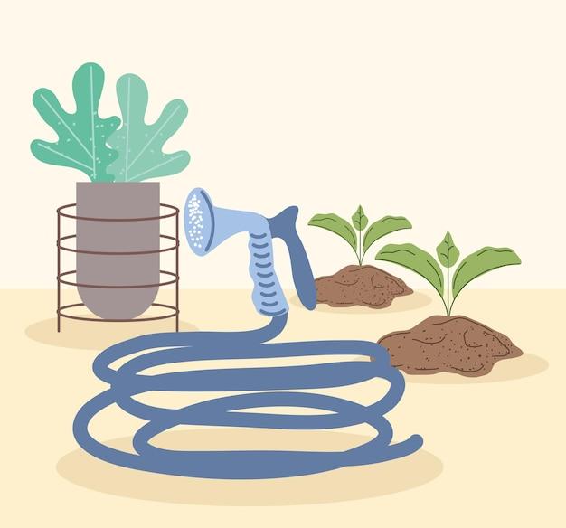 Gartenpflanzen und schlauch