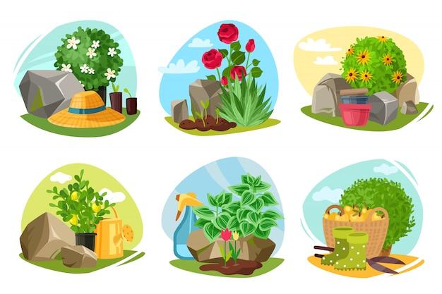 Gartenpflanzen und steinembleme gesetzt.