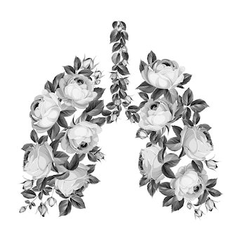 Gartenrosen in form der menschlichen lunge als symbol der gesundheit. speichern sie ihre gesundheit zu hause bleiben. coronavirus kann die lungenfunktion beeinträchtigen.