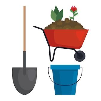 Gartenschaufel schubkarre und eimer design, gartenpflanzung und naturthema