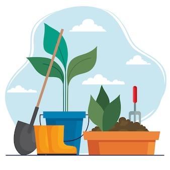 Gartenschaufel stiefel und pflanzen in eimer und topf design, gartenpflanzung und naturthema