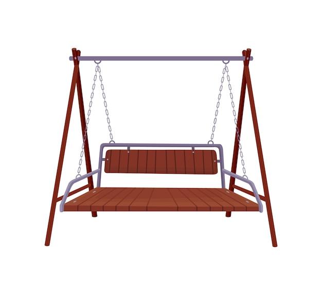 Gartenschaukelbank. klassische hängemöbel aus holz für den außenbereich. hölzerne verandaschaukel, die am rahmen mit ketten hängt. terrassenelement zum entspannen.