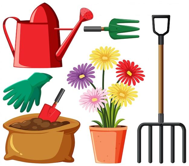 Gartenset mit werkzeugen und blumen