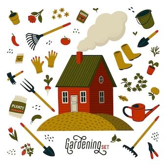 Gartenset. rotes bauernhaus und verschiedene arten von werkzeugen für garten- und landschaftsbau.