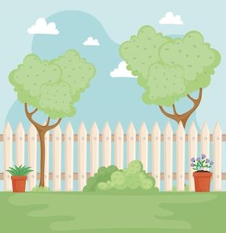 Gartenszene im hinterhof