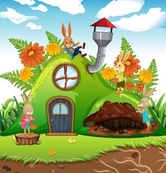 Gartenszene mit kaninchenfamilien-zeichentrickfigur