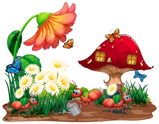Gartenszene mit vielen insekten auf hintergrund