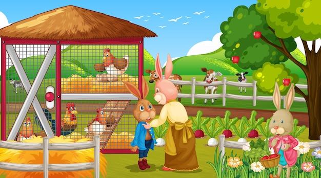 Gartenszene mit vielen kaninchen-cartoon-charakter