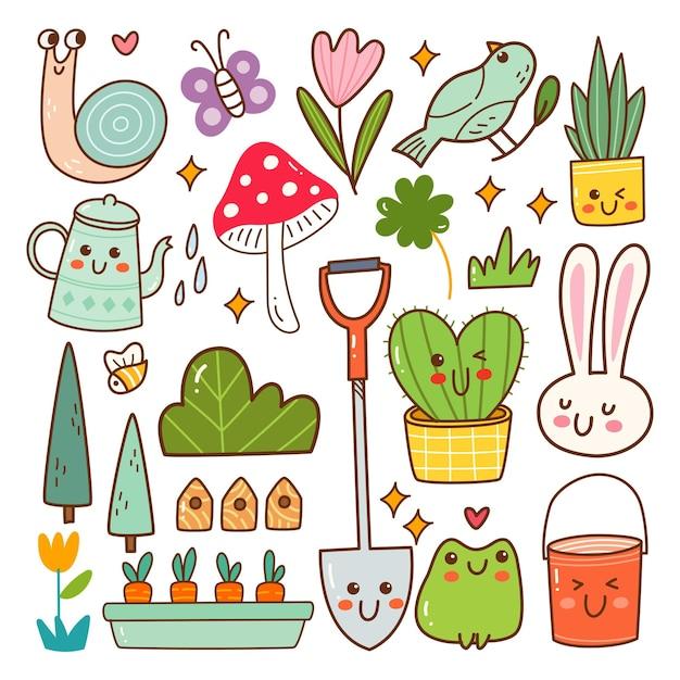 Gartentier- und pflanzen-kawaii-doodle-set