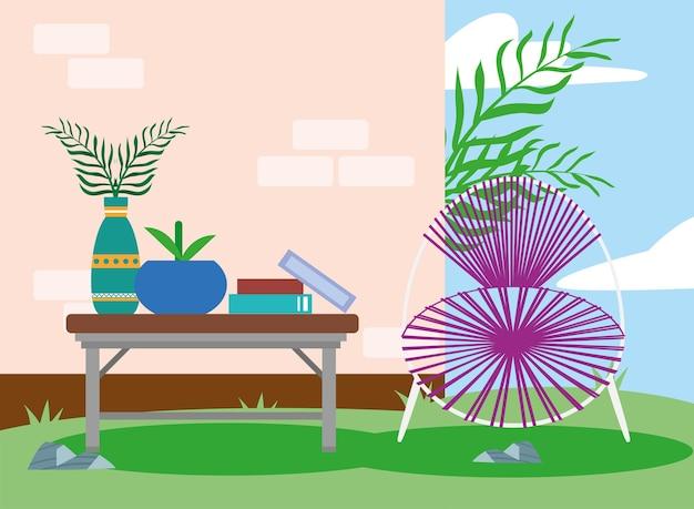 Gartentisch und stuhl outdoor-szene