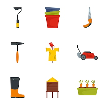 Gartenwerkzeug-ikonensatz, flache art