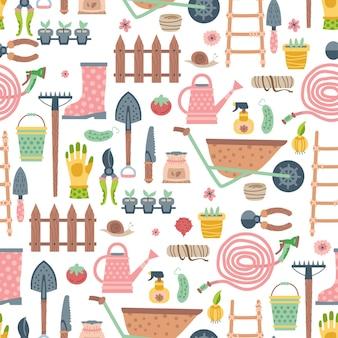 Gartenwerkzeug und materialien nahtlose muster-vektor-illustration