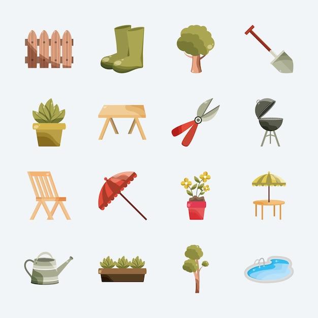 Gartenwerkzeug und möbel
