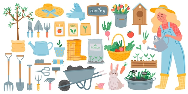 Gartenwerkzeuge. frühlingsgartengeräte - hacke, gabel, schaufel und rechen, schubkarre und samen. frau, die pflanzen gießt. gartenbau-vektor-set. kaninchen und schnecke, korb mit gemüse