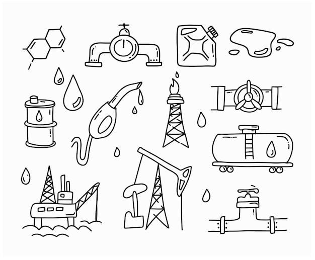 Gas- und öl-doodle-set. benzin-umriss-elemente. handgezeichnete symbole und skizze.