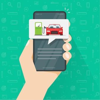 Gasbenzin, das autoauto auf tankstelle auf handy-app-bildschirm nachfüllt