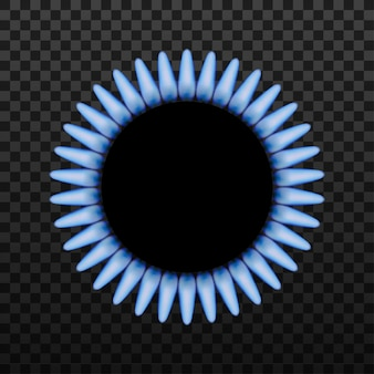 Gasbrennerring mit blauer flamme