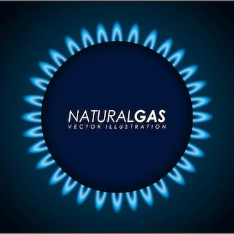 Gasdesign über blauer hintergrundvektorillustration