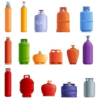 Gasflaschen-set im cartoon-stil