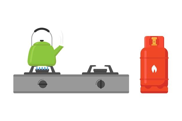 Gasherd und wasserkocher-vektor-illustration auf weißem hintergrund