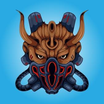 Gasmaske böser schädel maskottchen illustration