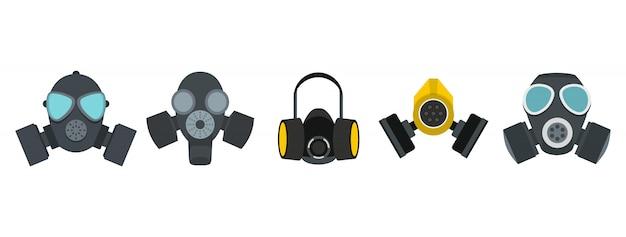 Gasmaske-icon-set. flacher satz der gasmaskenvektor-ikonensammlung lokalisiert