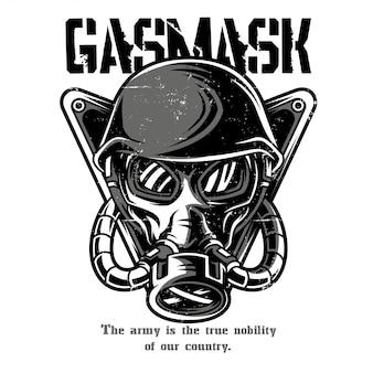 Gasmaske schwarz und weiß
