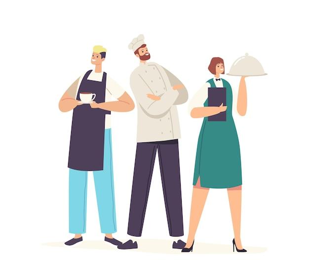 Gastfreundschaft, restaurantpersonal team charaktere in uniform. barmann mit tasse getränk, kellnerin, die tablett mit teller unter cloche-deckel hält und überzeugter koch in toque. cartoon-menschen-vektor-illustration