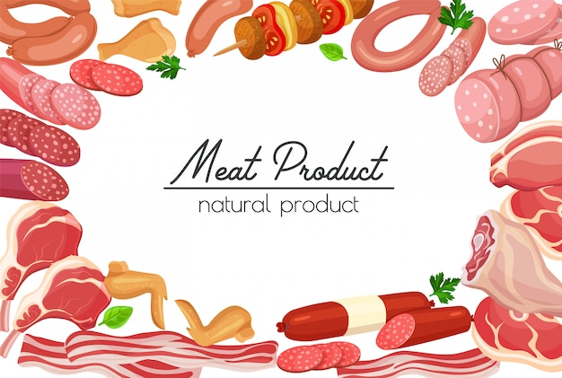 Gastronomische fleischprodukte skizzen