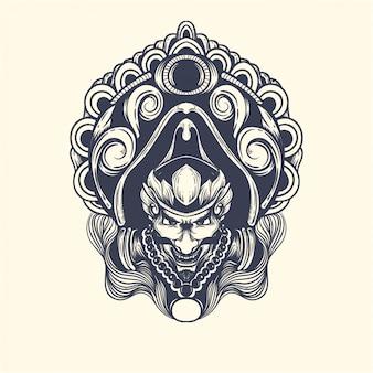 Gatot kaca aus javanischer mythologie kunstwerk illustration