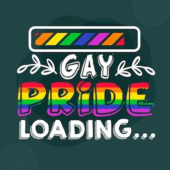 Gay pride lädt premium gay pride schriftzug vector design