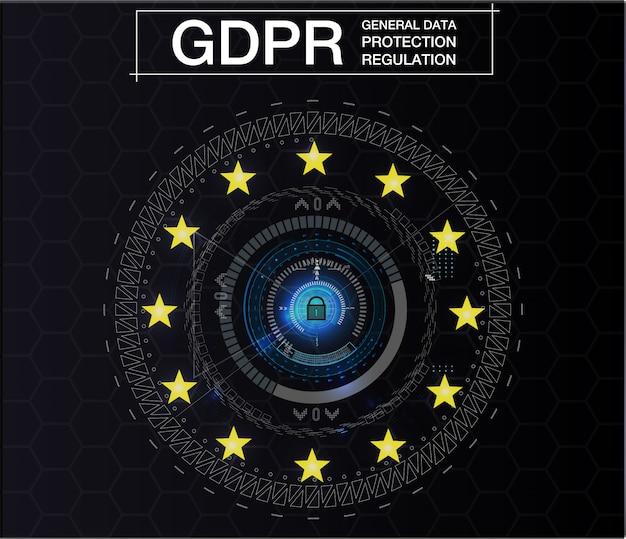 Gdpr-allgemeine datenschutzvorschriften. cybersicherheit und datenschutz. illustration. zukünftiger stil.