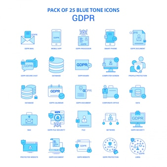 Gdpr blau ton icon pack