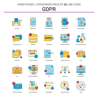 Gdpr flache linie icon set