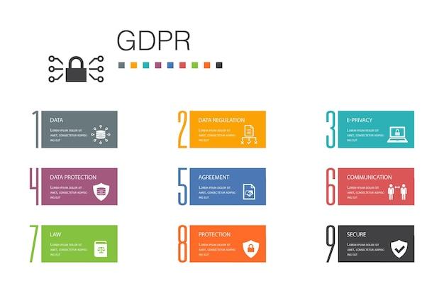 Gdpr infographic 10 option line concept.data, e-privacy, vereinbarung, schutz einfache symbole