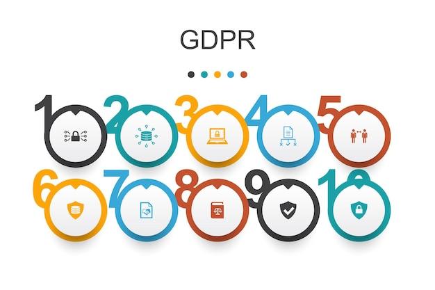 Gdpr infographic design template.data, e-privacy, vereinbarung, schutz einfache symbole