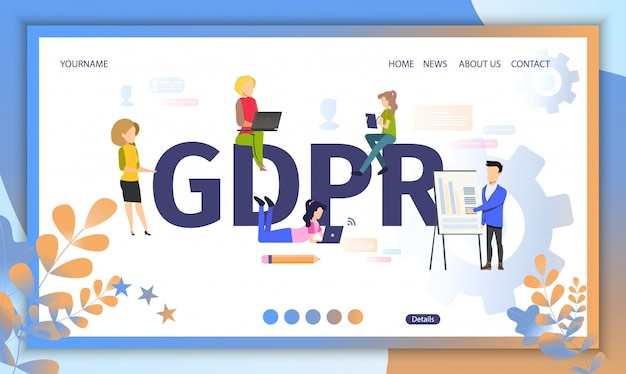 Gdpr official regulations landing page web template