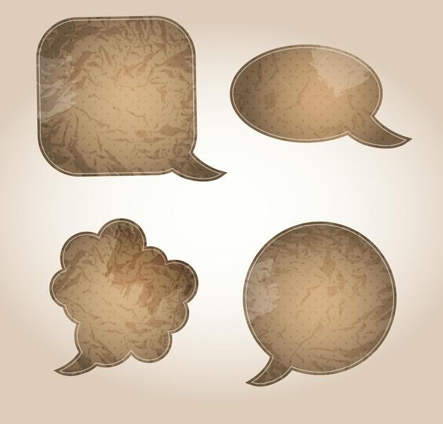 Gealterte papierspracheblasen-vektorillustration