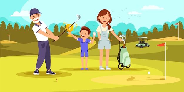 Gealterter starker mann-schießen-golfball am kurs