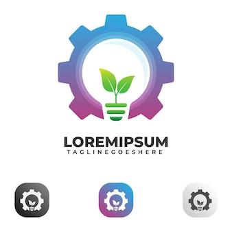 Gear glühbirne logo vorlage
