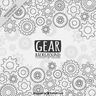 Gear-hintergrund in flachen stil