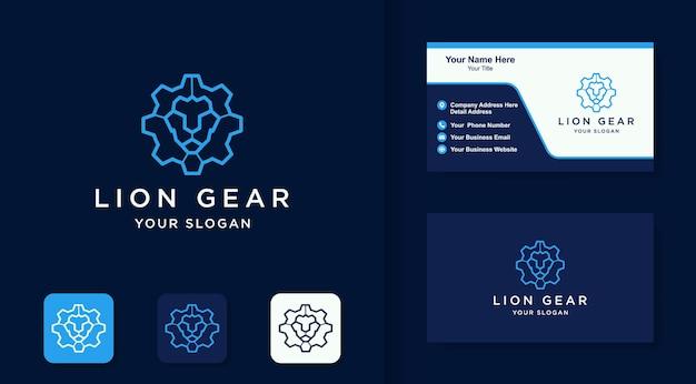 Gear lion logo mit linienstil und visitenkartendesign