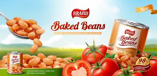 Gebackene bohnen-anzeigen mit frischen tomaten auf bokeh-naturhintergrund in 3d-darstellung