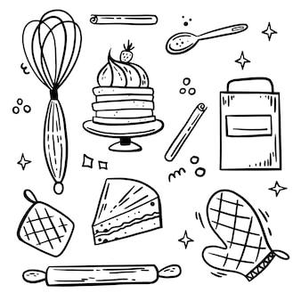 Gebäck konditor vektor-doodle-set von hand gezeichnet