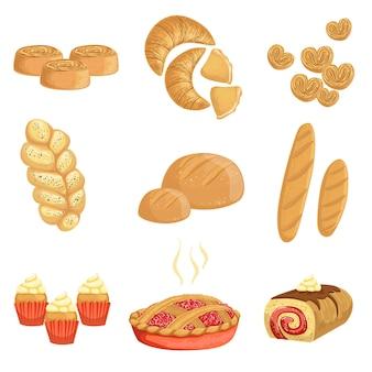 Gebäck und brot bäckerei sortiment satz von isolierten ikonen