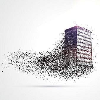 Gebäude aus schwarzen teilchen aus