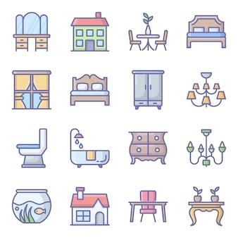 Gebäude dekor flache icons pack