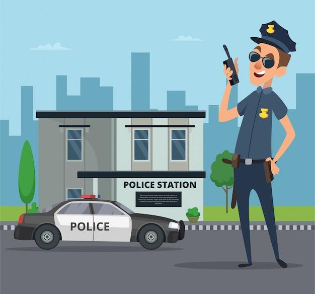 Gebäude des polizeireviers und zeichentrickfigur des polizisten