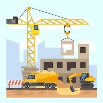 Gebäude, flaches designkonzept des hausbaus mit baumaschinen. bagger und lkw, ve